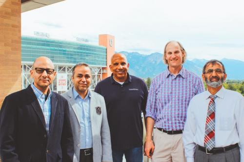 Drs. McFarland, El-Sayed, Hazman, and Burian outside the Water Center offices at the University of Utah