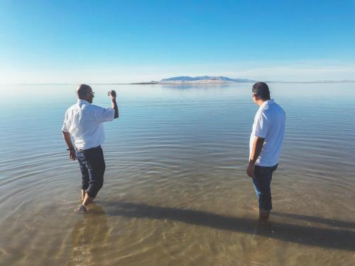 Drs. El-sayed and Hazman exploring the wonders of the Great Salt Lake